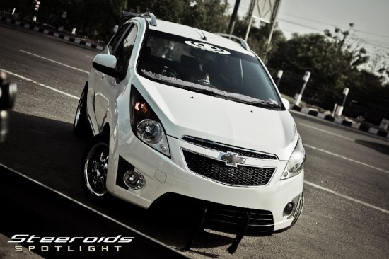 Modified Chevrolet Beat Car. Giving the car a meaner look.